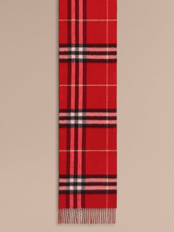 Reversible Metallic Check Cashmere Scarf in Parade Red - Women | Burberry - cell image 1