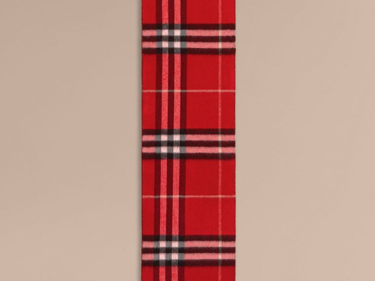 Reversible Metallic Check Cashmere Scarf in Parade Red - Women | Burberry United Kingdom - cell image 1