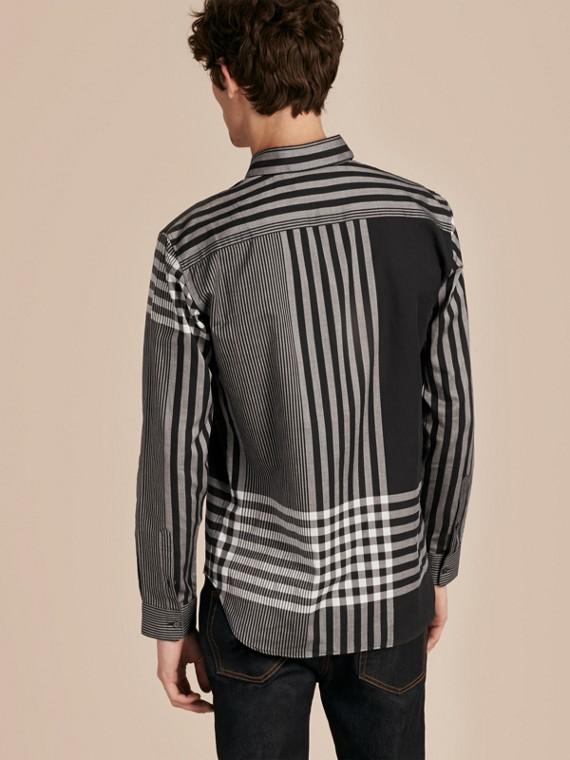 Nero Camicia in cotone con motivo check grafico Nero - cell image 2