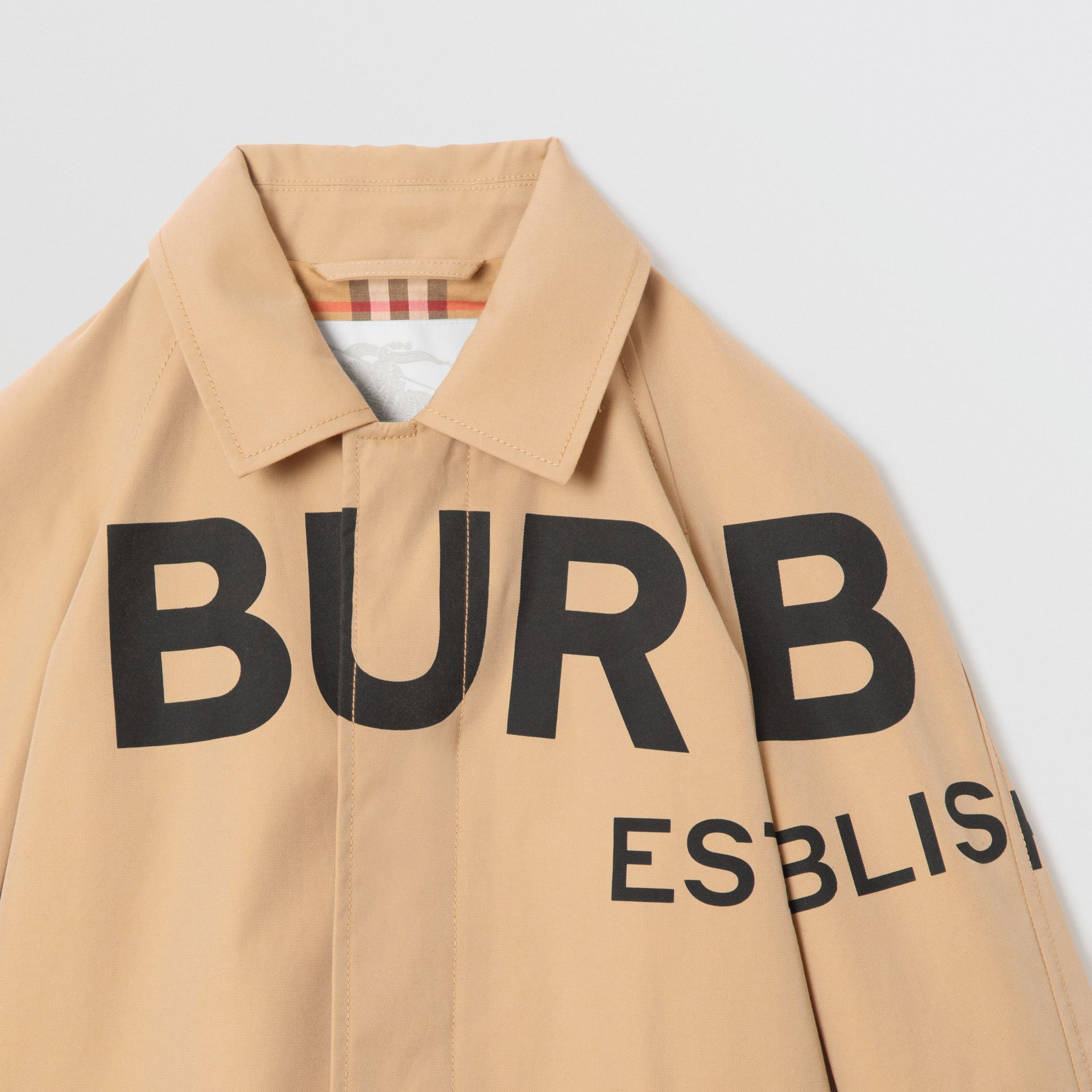 Horseferry Print Cotton Gabardine Car Coat in Honey | Burberry Singapore - gallery image 6