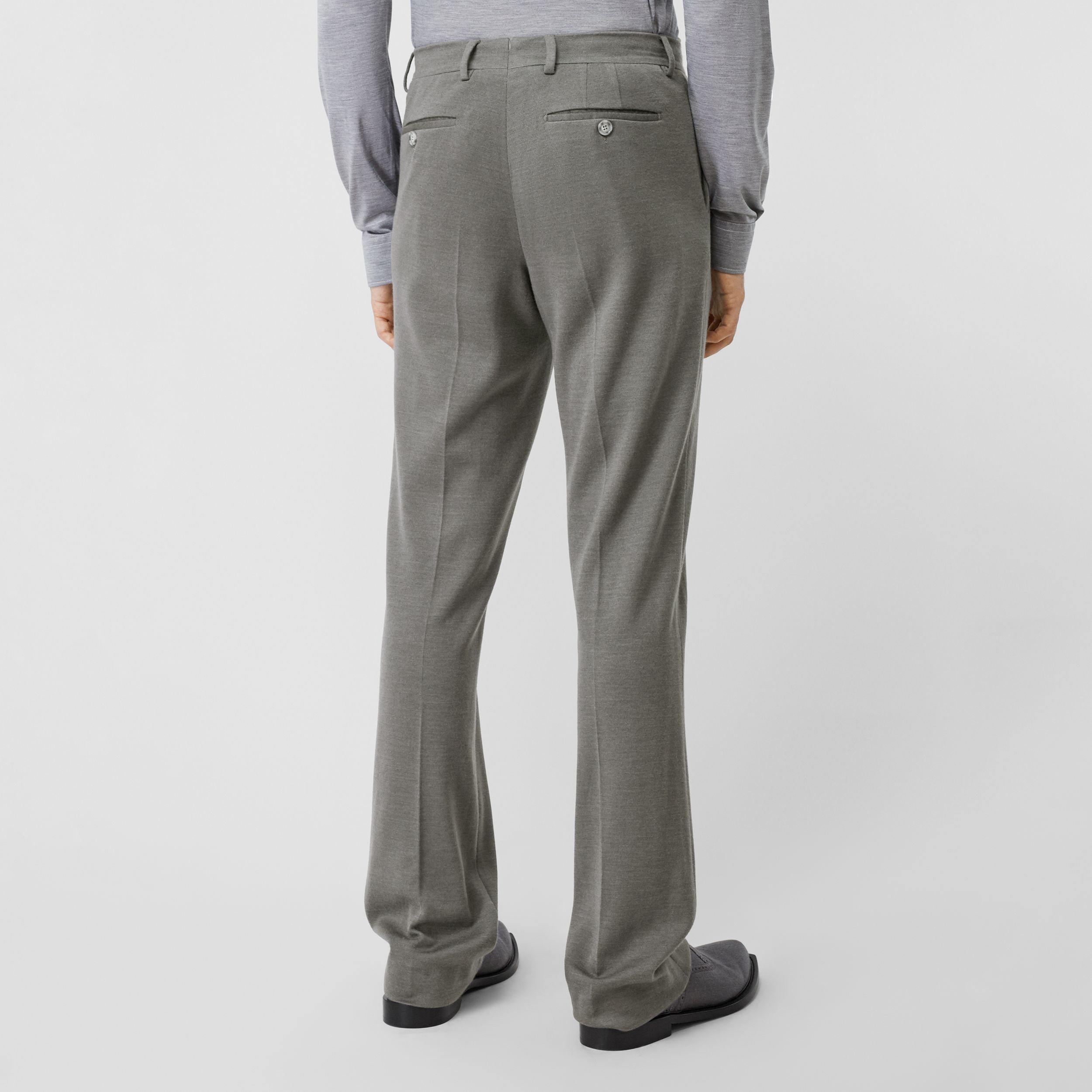 English Fit Cashmere Silk Jersey Tailored Trousers in Cloud Grey - Men | Burberry - 3