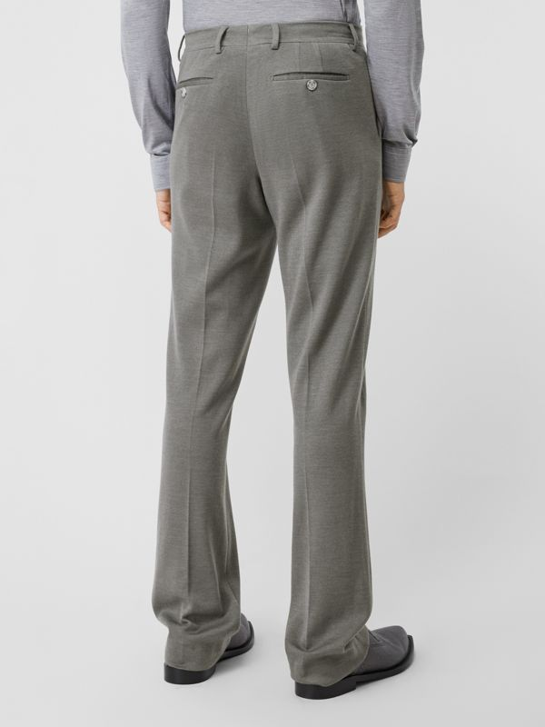 English Fit Cashmere Silk Jersey Tailored Trousers in Cloud Grey | Burberry - cell image 2