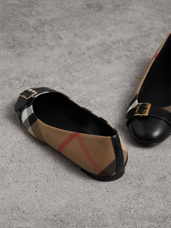Buckle Detail House Check and Leather Ballerinas in Black - Women | Burberry Hong Kong - cell image 3