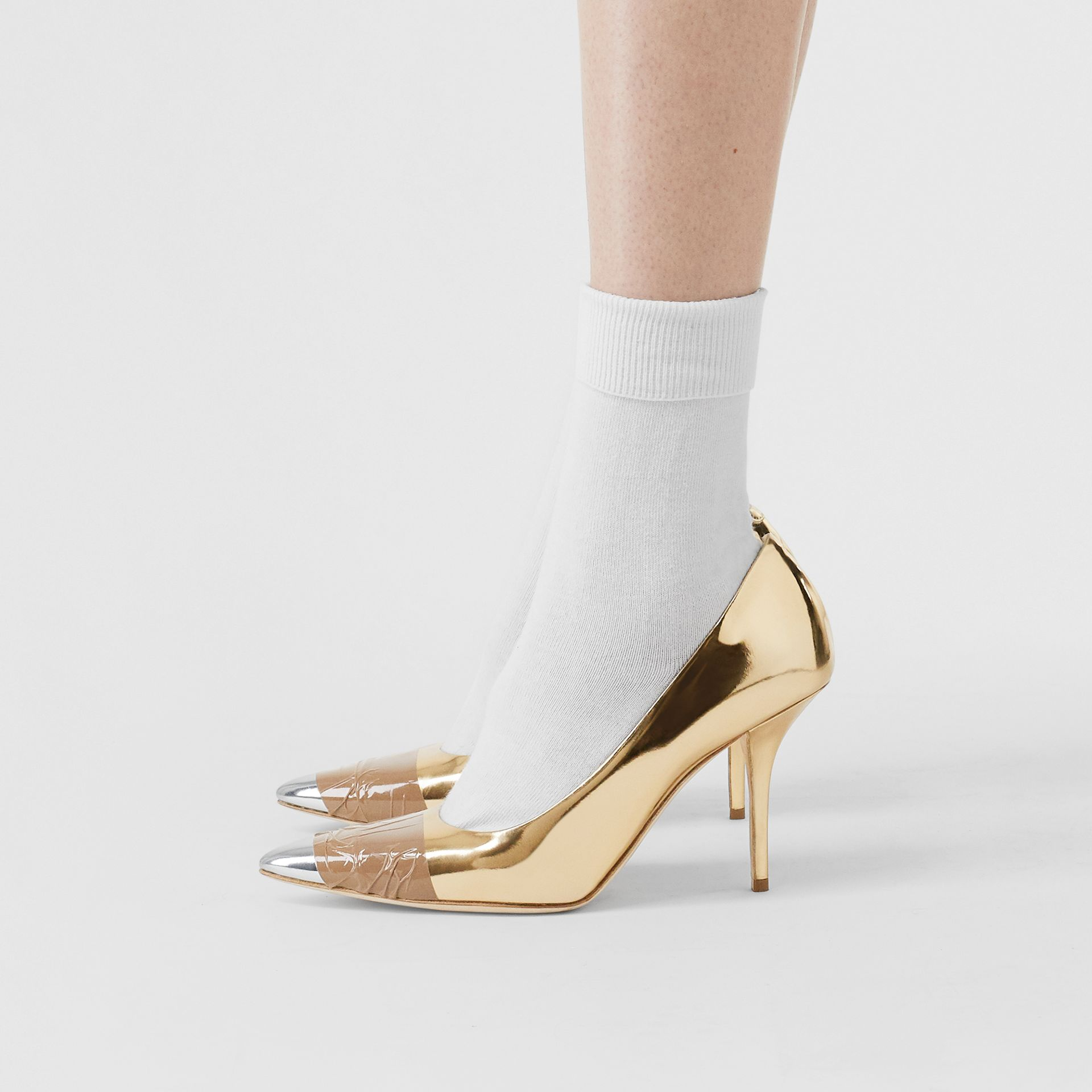 Tape Detail Mirrored Leather Pumps in Gold/silver - Women | Burberry Australia - gallery image 2