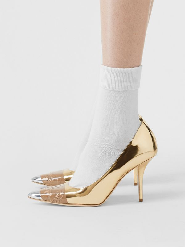 Tape Detail Mirrored Leather Pumps in Gold/silver - Women | Burberry Australia - cell image 2