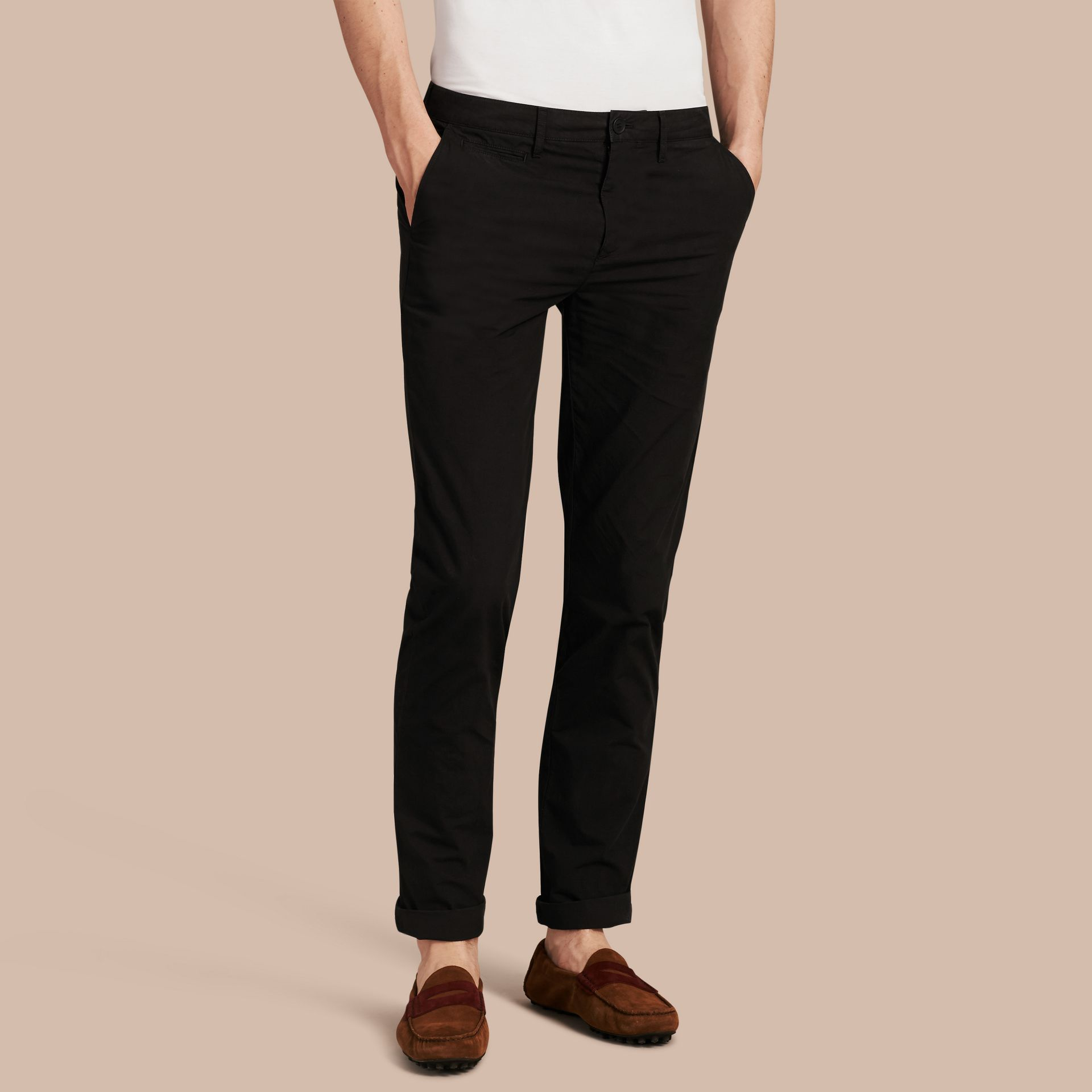 Slim Fit Cotton Poplin Chinos in Black - Men | Burberry - gallery image 1