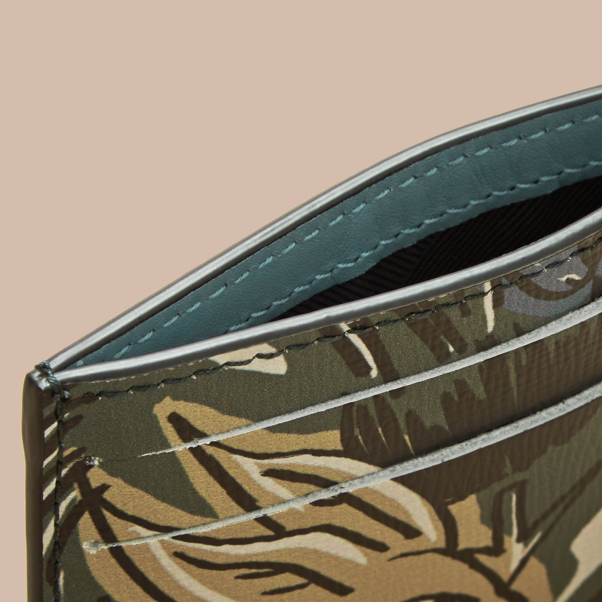 Beasts Print Leather Card Case in Sage Green - Men | Burberry - gallery image 4