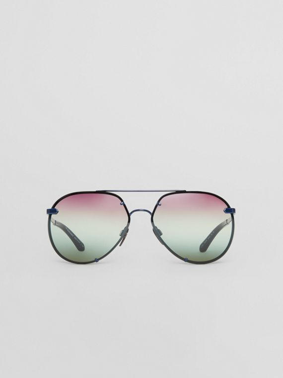 Óculos de sol com armação aviador e detalhe xadrez (Azul)