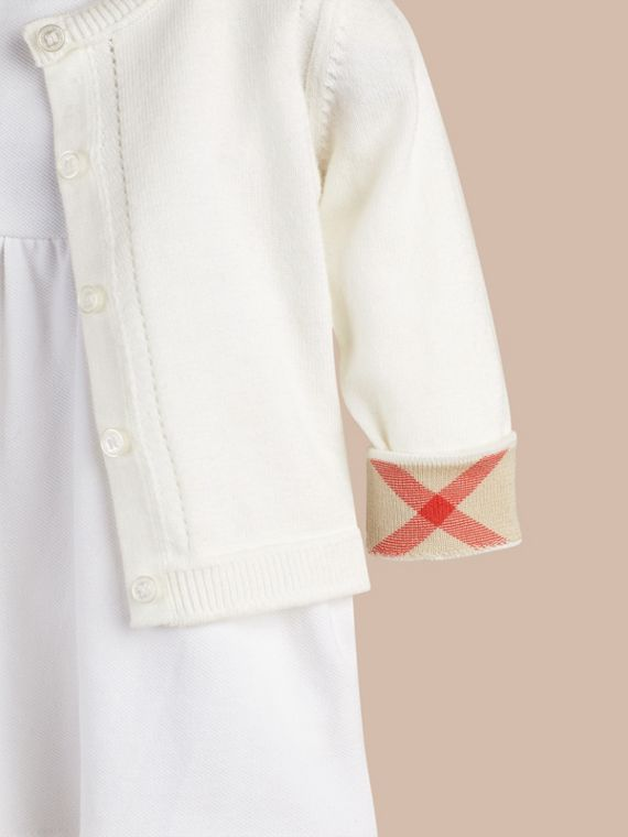 Check Cuff Cotton Cardigan in White - cell image 3