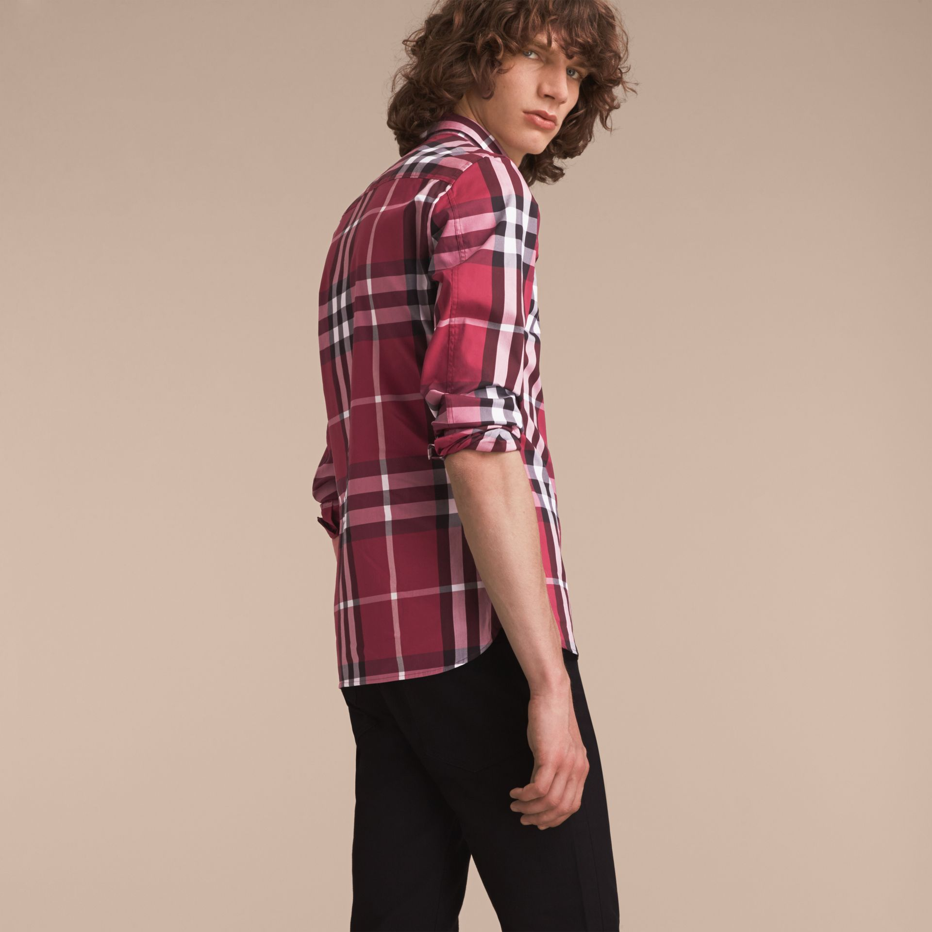 Check Stretch Cotton Shirt in Plum Pink - Men | Burberry Canada - gallery image 3