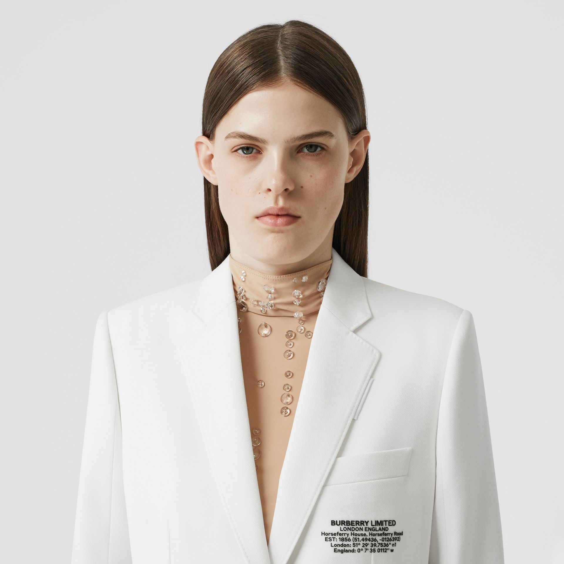 Location Print Wool Blend Tailored Jacket in Optic White - Women | Burberry - gallery image 6