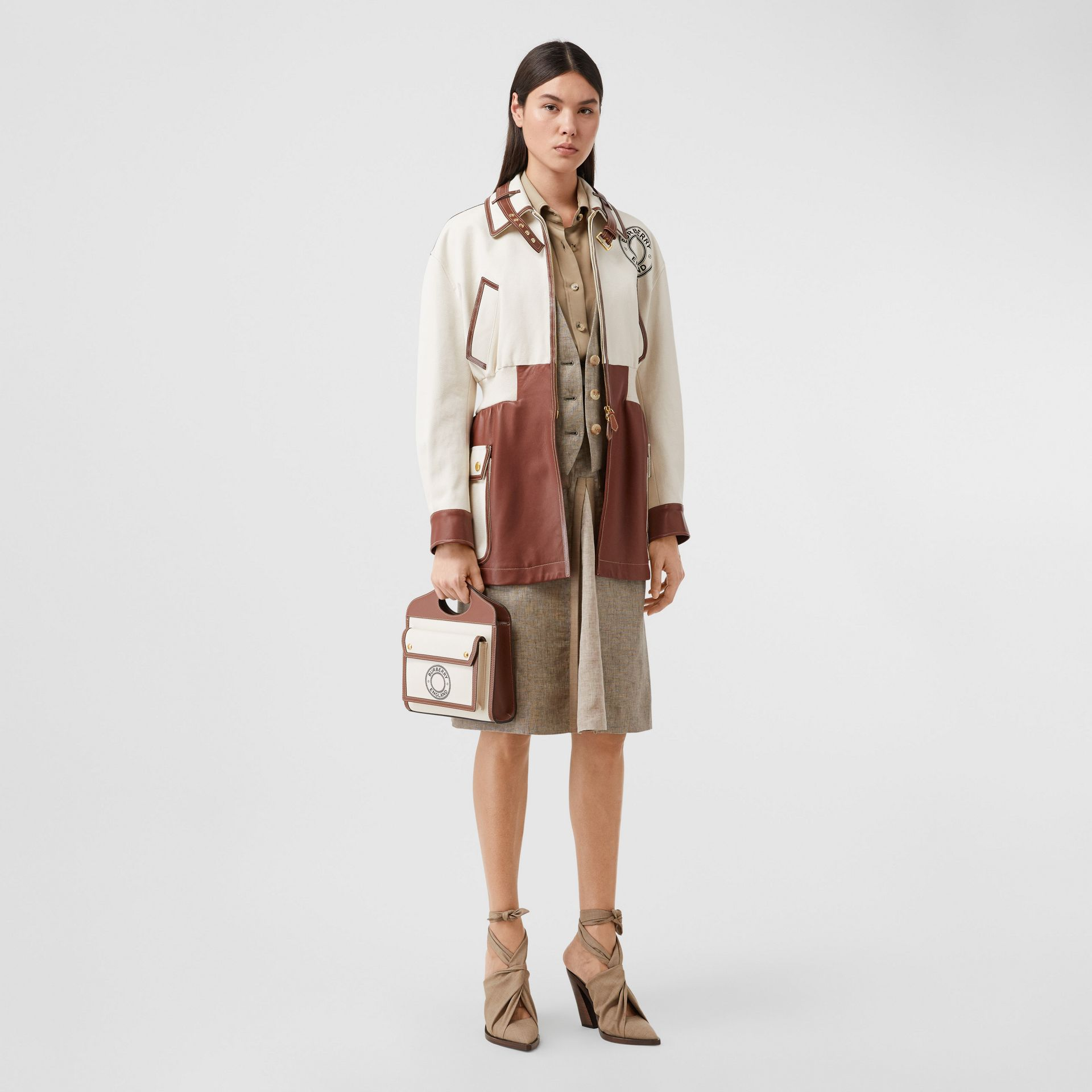 Mini Logo Graphic Canvas and Leather Pocket Bag in Tan - Women | Burberry Australia - gallery image 5