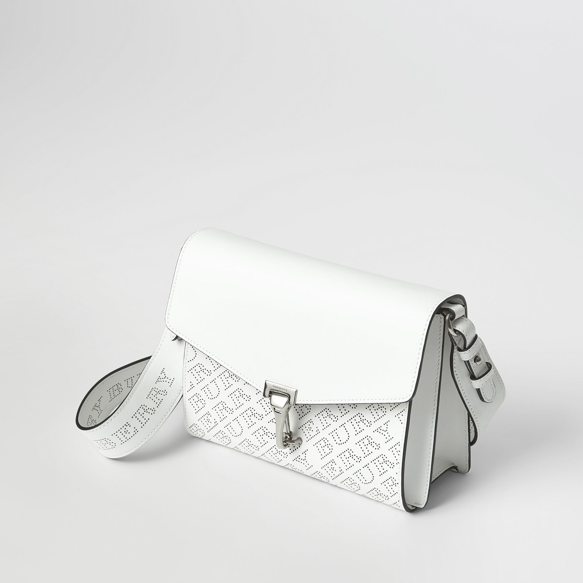 Small Perforated Logo Leather Crossbody Bag in Chalk White - Women | Burberry - gallery image 4