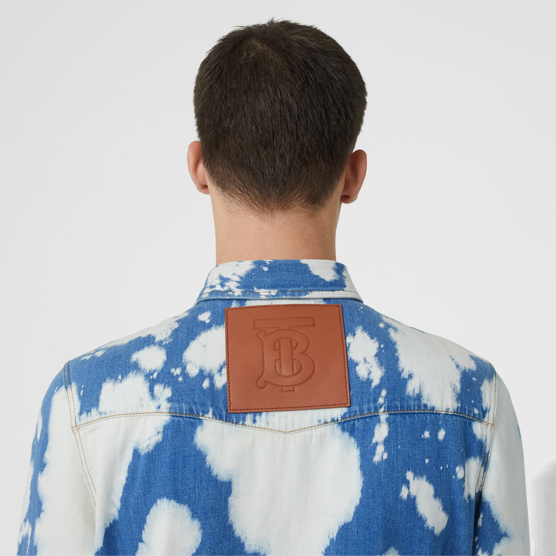 Monogram Motif Bleached Denim Shirt in Light Indigo - Men | Burberry - gallery image 4