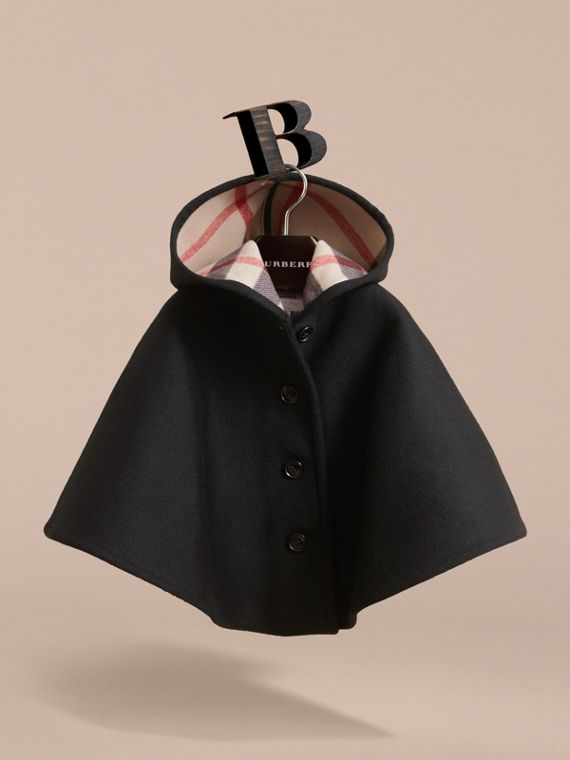 Hooded Check Detail Wool A-line Cape in Black - Girl | Burberry - cell image 2