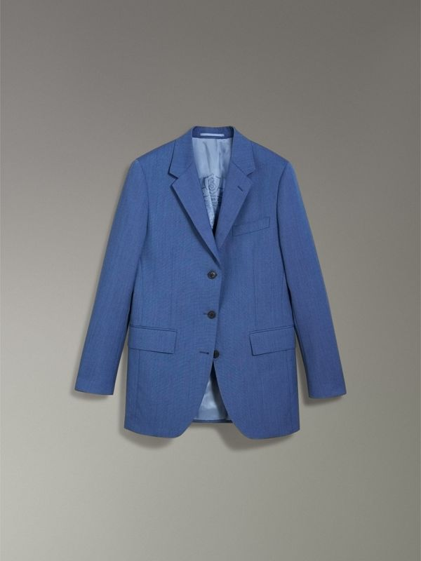 Wool Mohair Tailored Jacket in Bright Navy - Women | Burberry - cell image 3