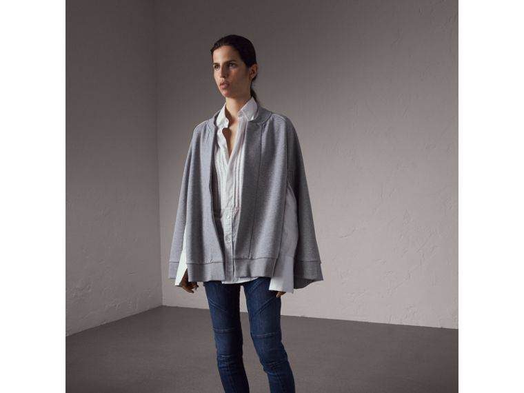 Beasts Appliqué Sweatshirt Cape in Pale Grey Melange - Women | Burberry - cell image 4