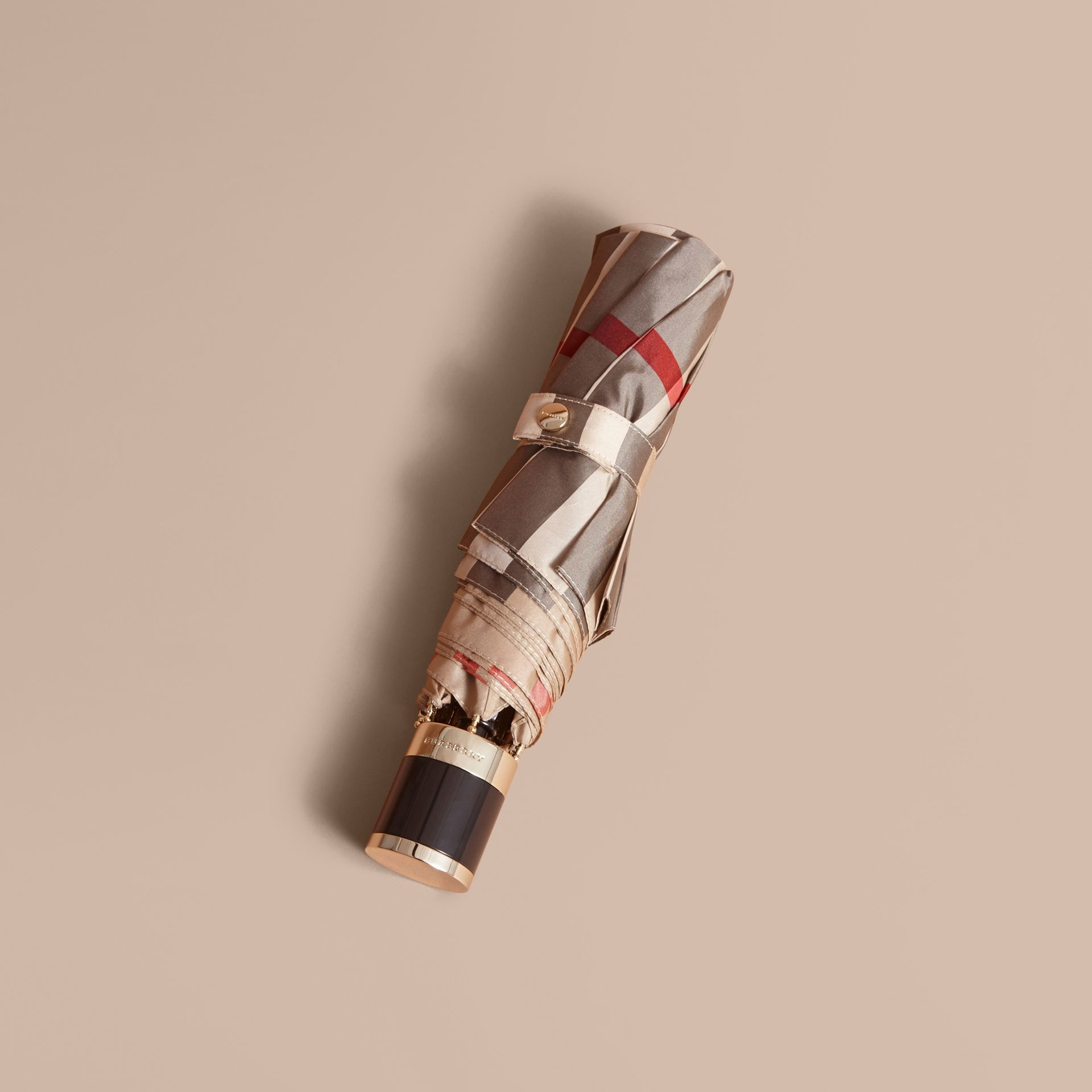 Check Folding Umbrella in Camel Check/black - Women | Burberry - gallery image 1