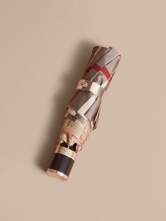 Check Folding Umbrella in Camel Check/black