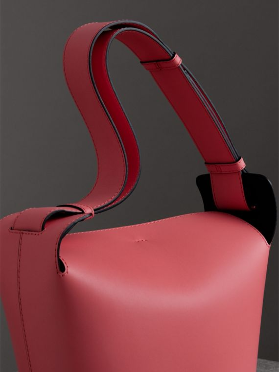 The Medium Leather Bucket Bag in Bright Coral Pink - Women | Burberry - cell image 2