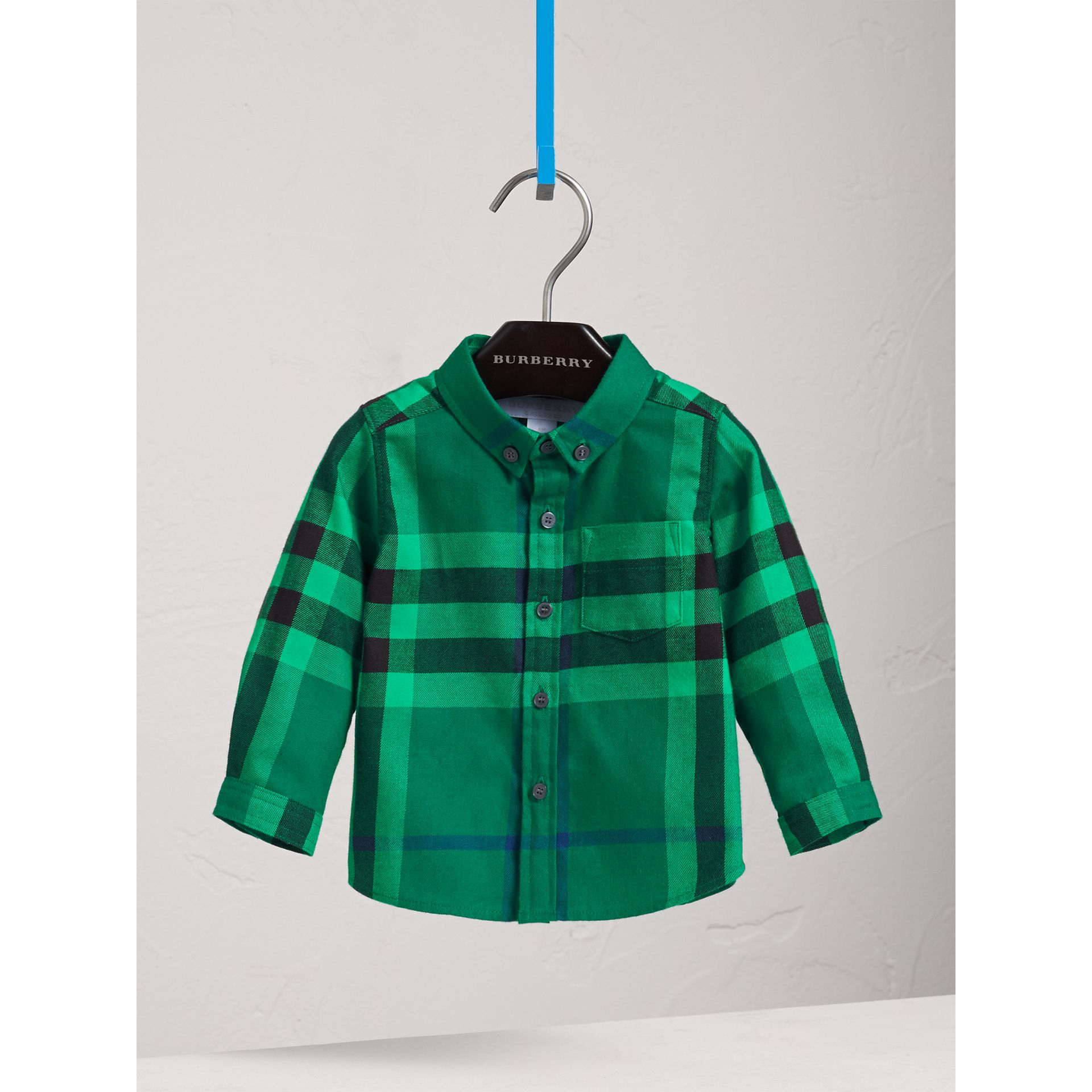 Button-down Collar Check Cotton Shirt in Pigment Green | Burberry - gallery image 3