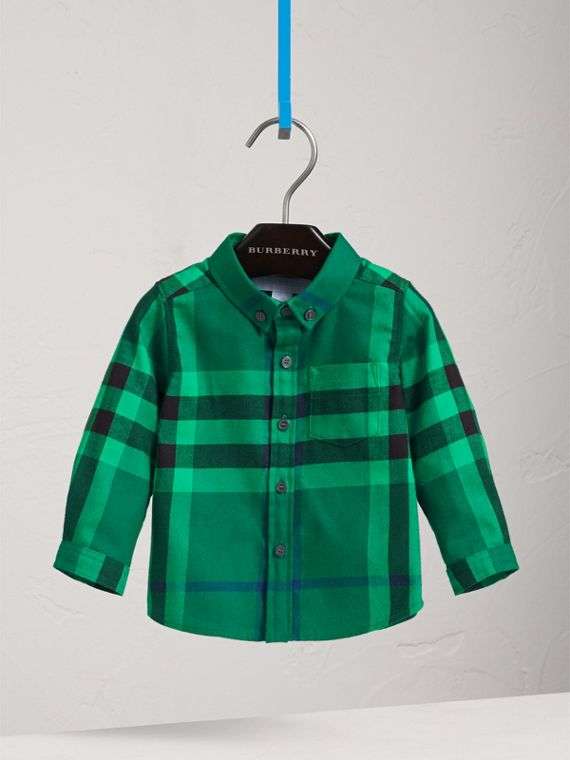 Button-down Collar Check Cotton Shirt in Pigment Green | Burberry - cell image 2