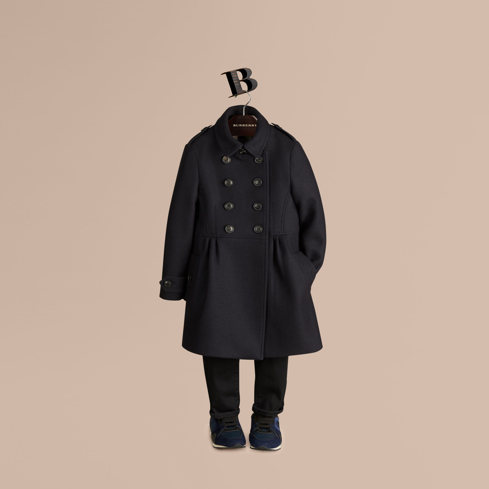 Navy Tailored Wool Cashmere Blend Coat Navy - gallery image 1