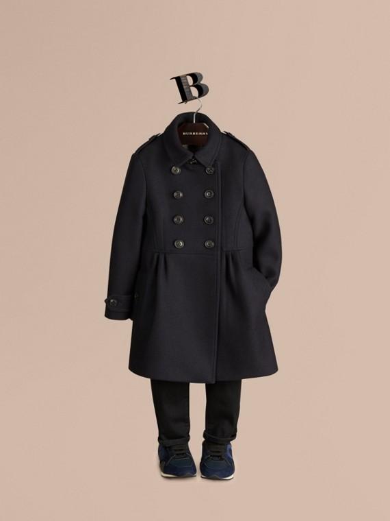 合身裁製羊毛喀什米爾混紡大衣 海軍藍