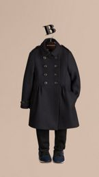 Virgin Wool Cashmere Blend Military Coat