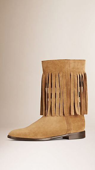 Check Panel Suede Fringe Boots