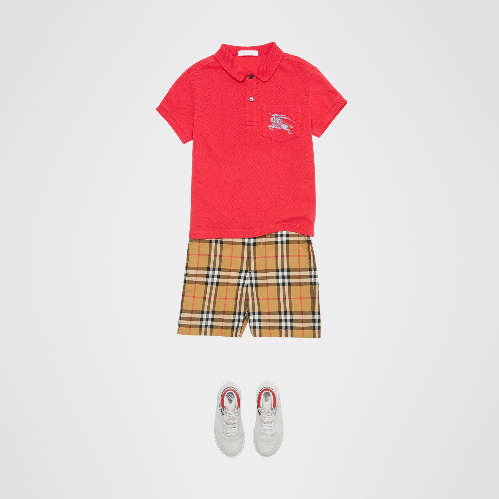 EKD Logo Cotton Piqué Polo Shirt in Bright Red | Burberry United Kingdom - gallery image 2