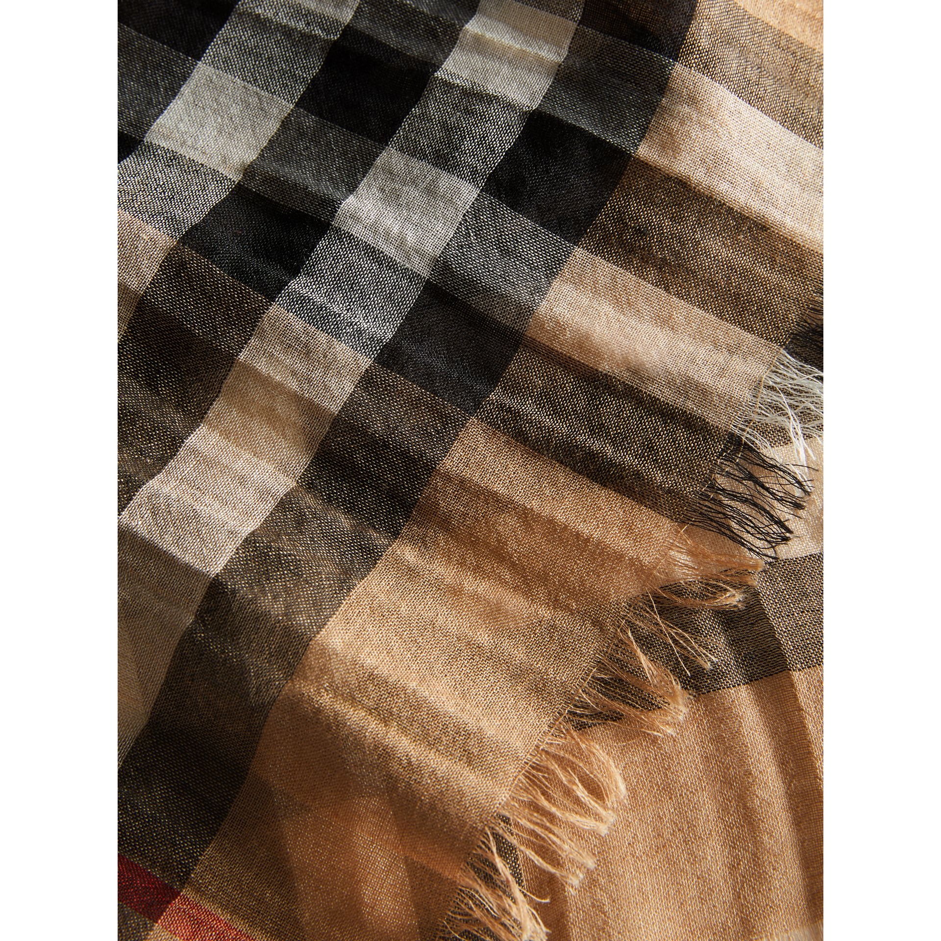 Exploded Check Wool Silk Scarf in Camel | Burberry United Kingdom - gallery image 1