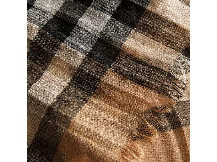 Exploded Check Wool Silk Scarf in Camel | Burberry United States - cell image 1