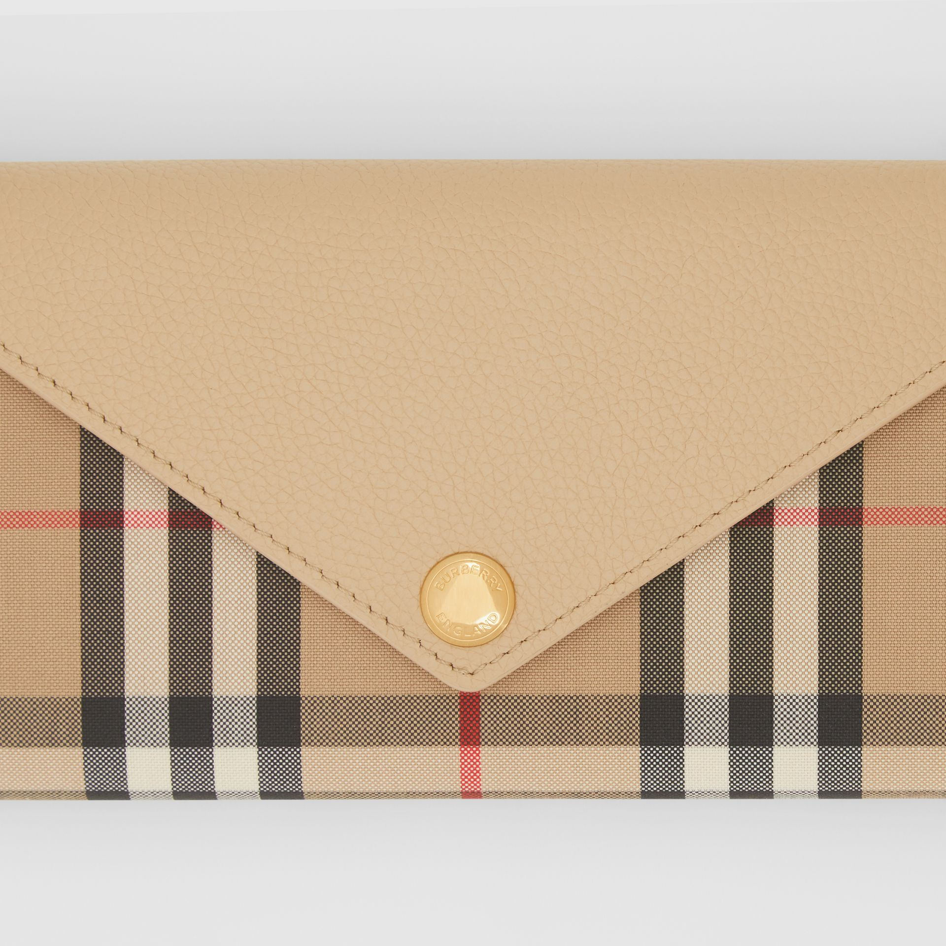 Vintage Check and Leather Continental Wallet in Light Beige - Women | Burberry - gallery image 1