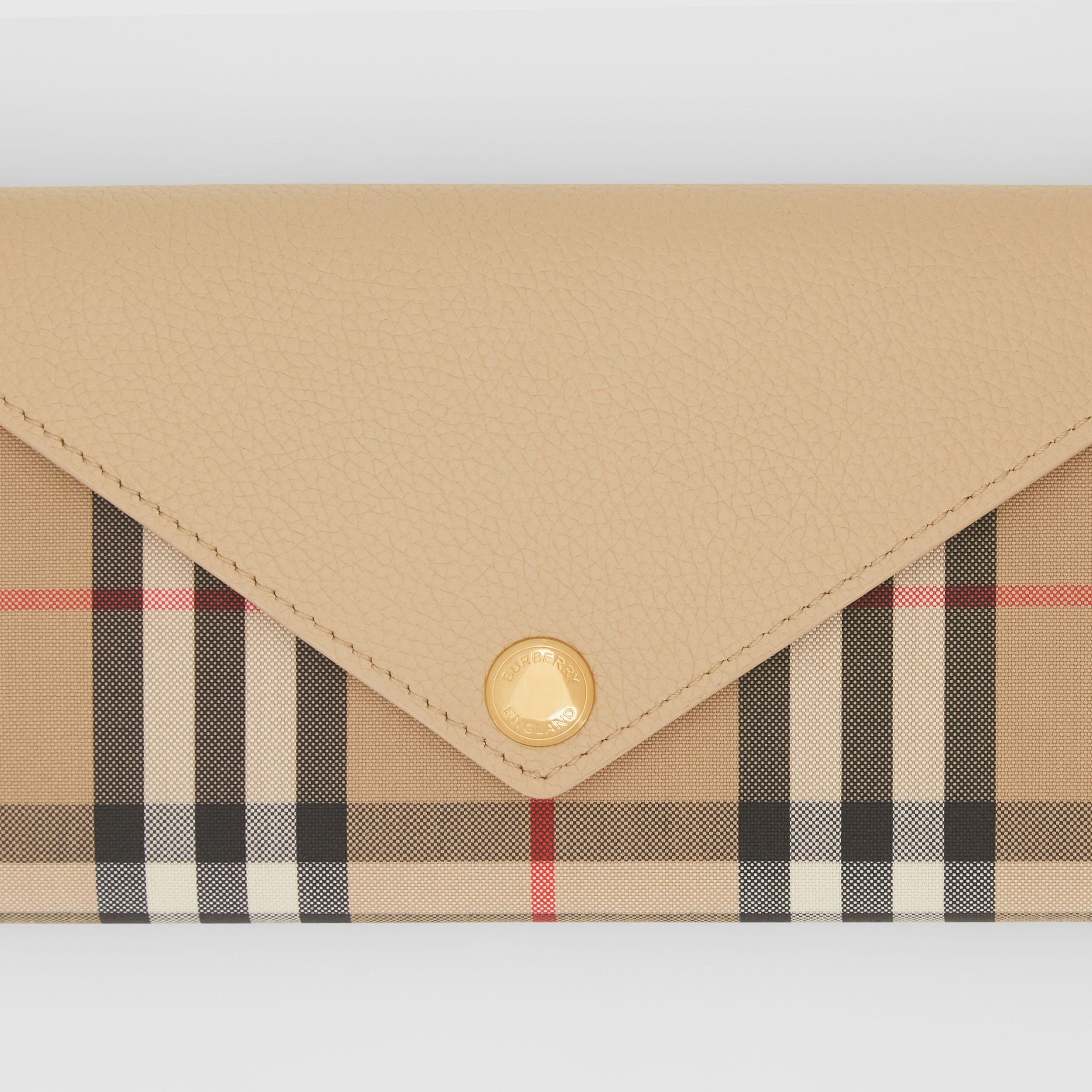 Vintage Check and Leather Continental Wallet in Light Beige - Women | Burberry - 2