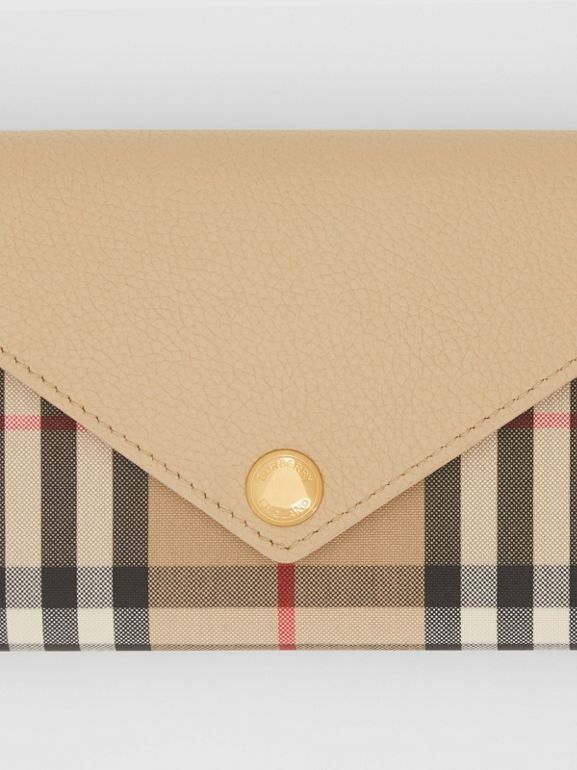 Vintage Check and Leather Continental Wallet in Light Beige - Women | Burberry - cell image 1