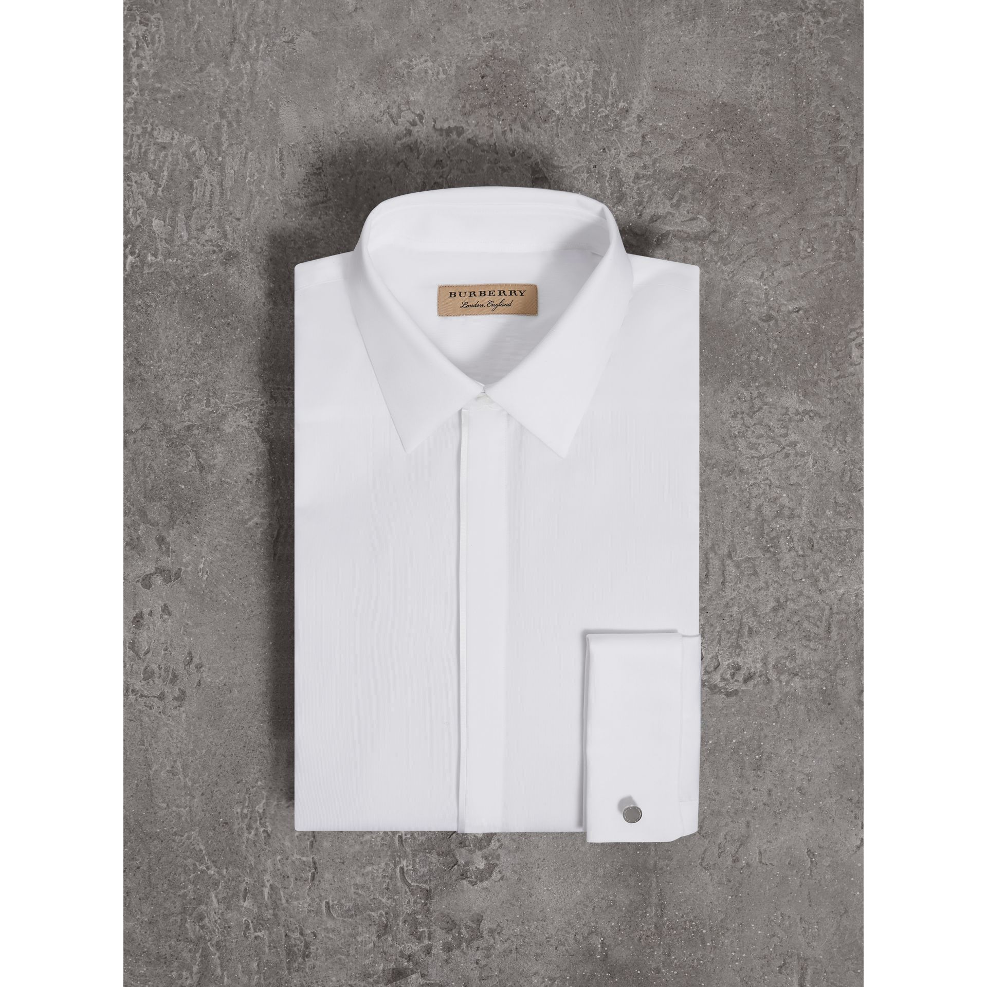 Slim Fit Double-cuff Cotton Dress Shirt in White - Men | Burberry Canada - gallery image 3