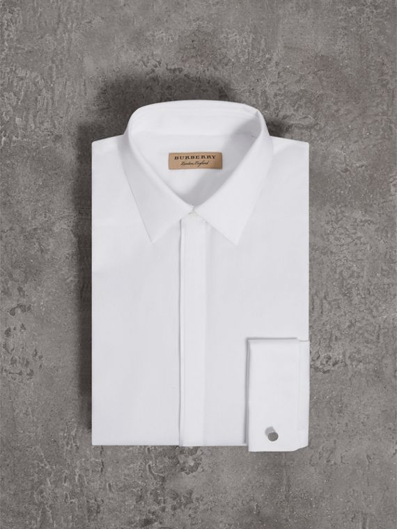 Slim Fit Double-cuff Cotton Dress Shirt in White - Men | Burberry Singapore - cell image 3