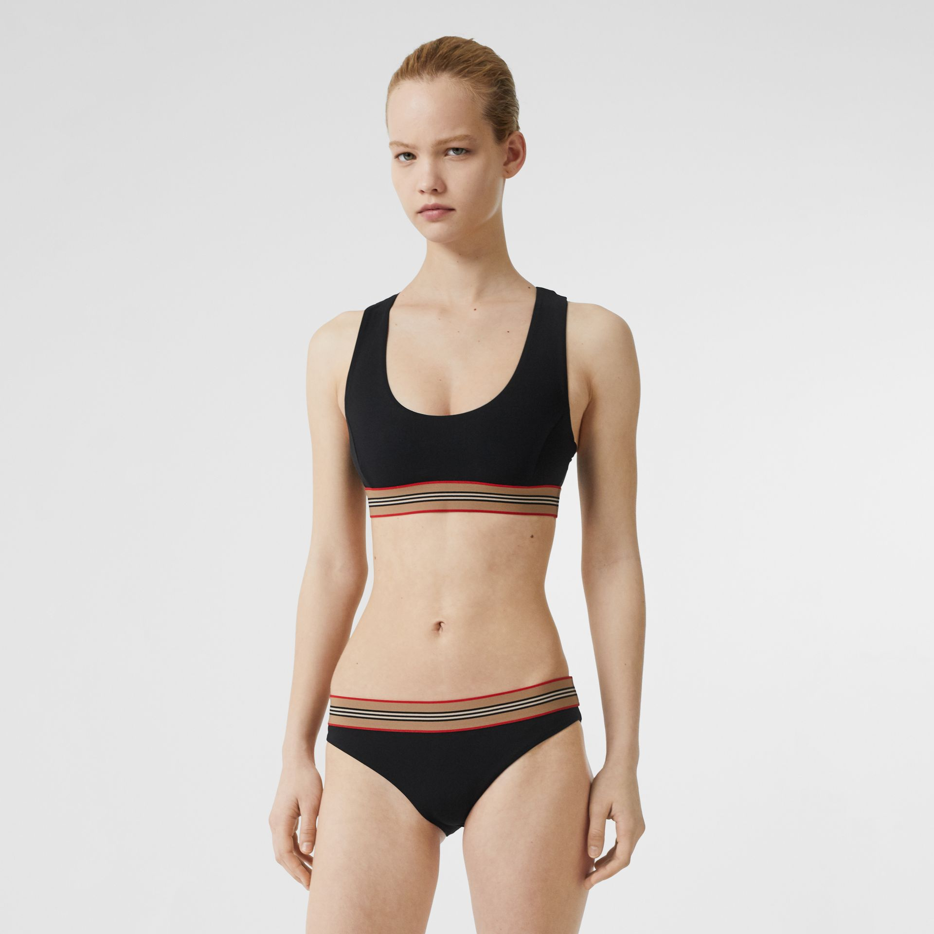 Icon Stripe Detail Bikini in Black - Women | Burberry - gallery image 0