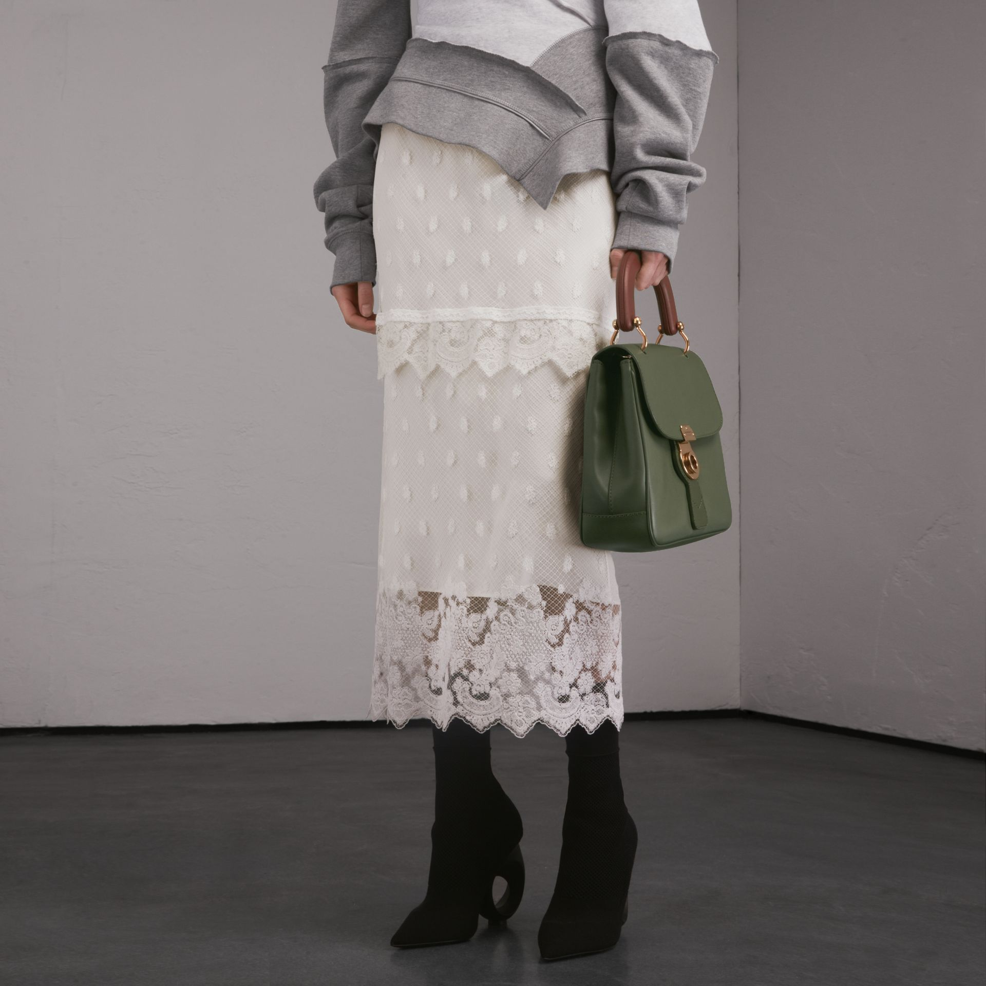 Embroidered Tulle Panelled Skirt in Off White - Women | Burberry - gallery image 1