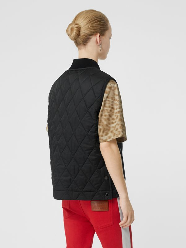 Monogram Motif Diamond Quilted Gilet in Black - Women | Burberry - cell image 2