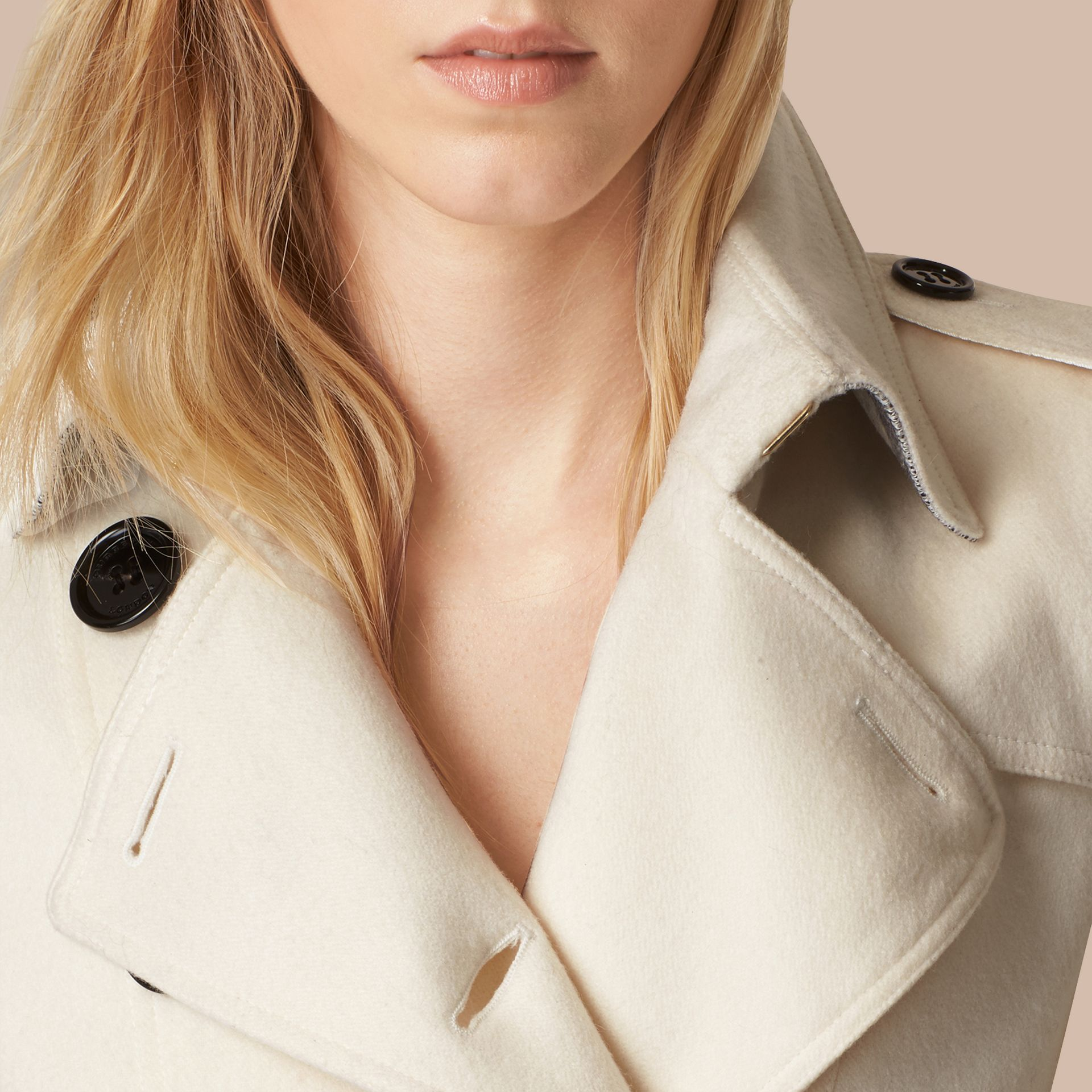 White Sandringham Fit Cashmere Trench Coat White - gallery image 5