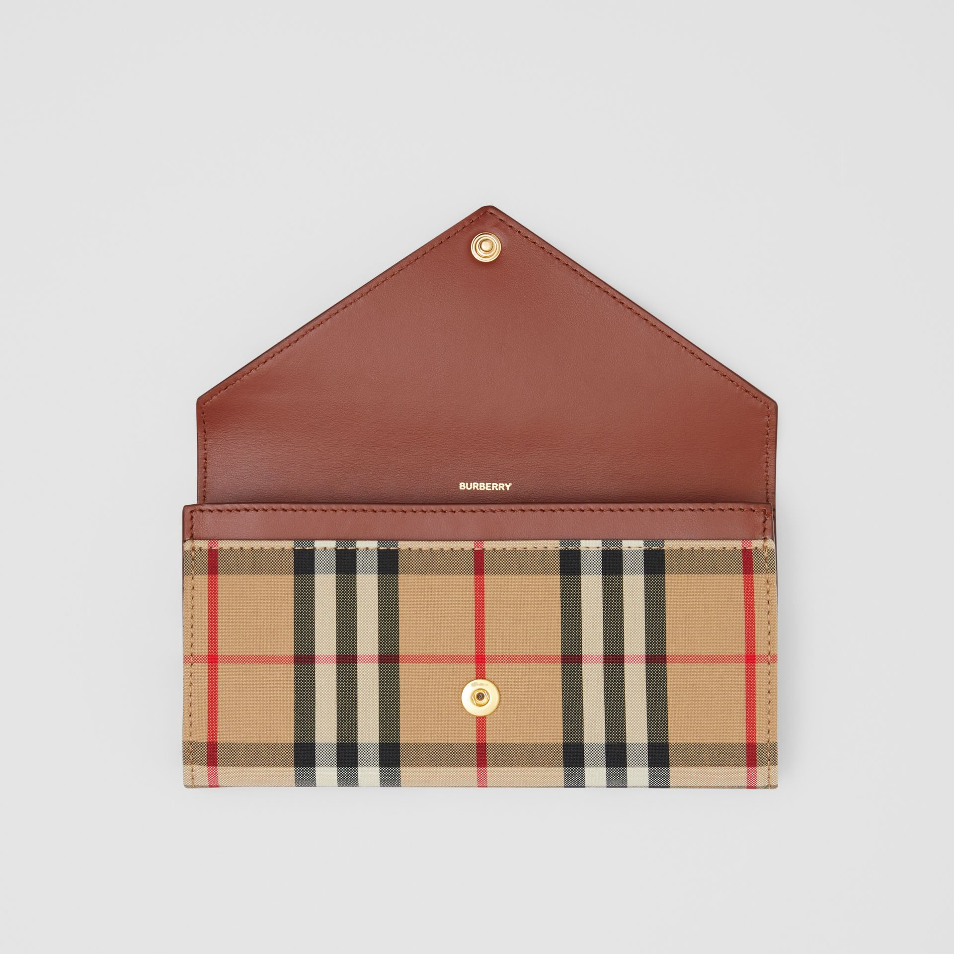 Vintage Check and Leather Continental Wallet in Tan - Women | Burberry Australia - gallery image 2