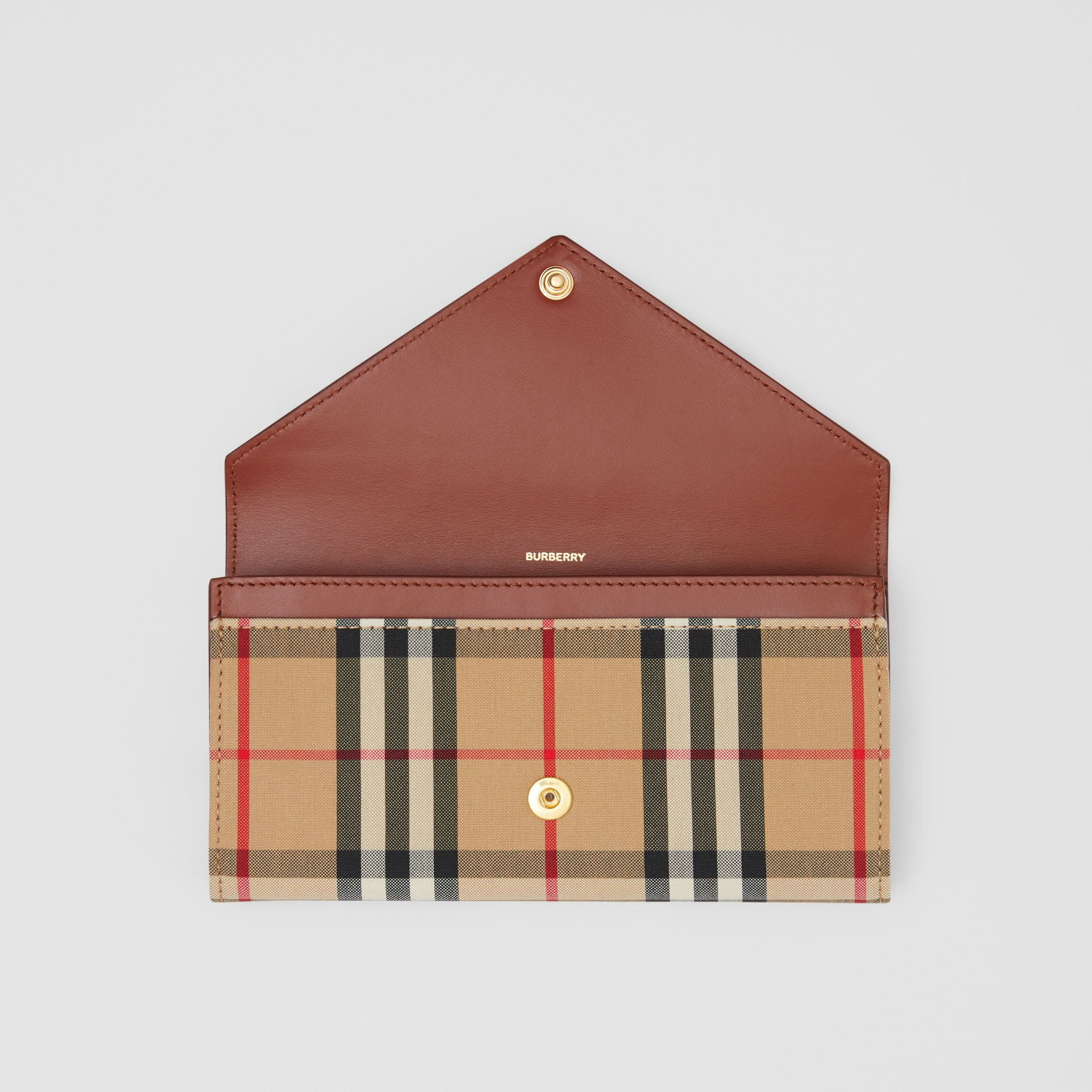 Vintage Check and Leather Continental Wallet in Tan - Women | Burberry - 3