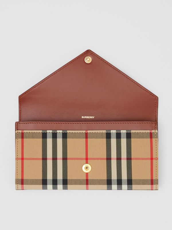 Vintage Check and Leather Continental Wallet in Tan - Women | Burberry United States - cell image 2