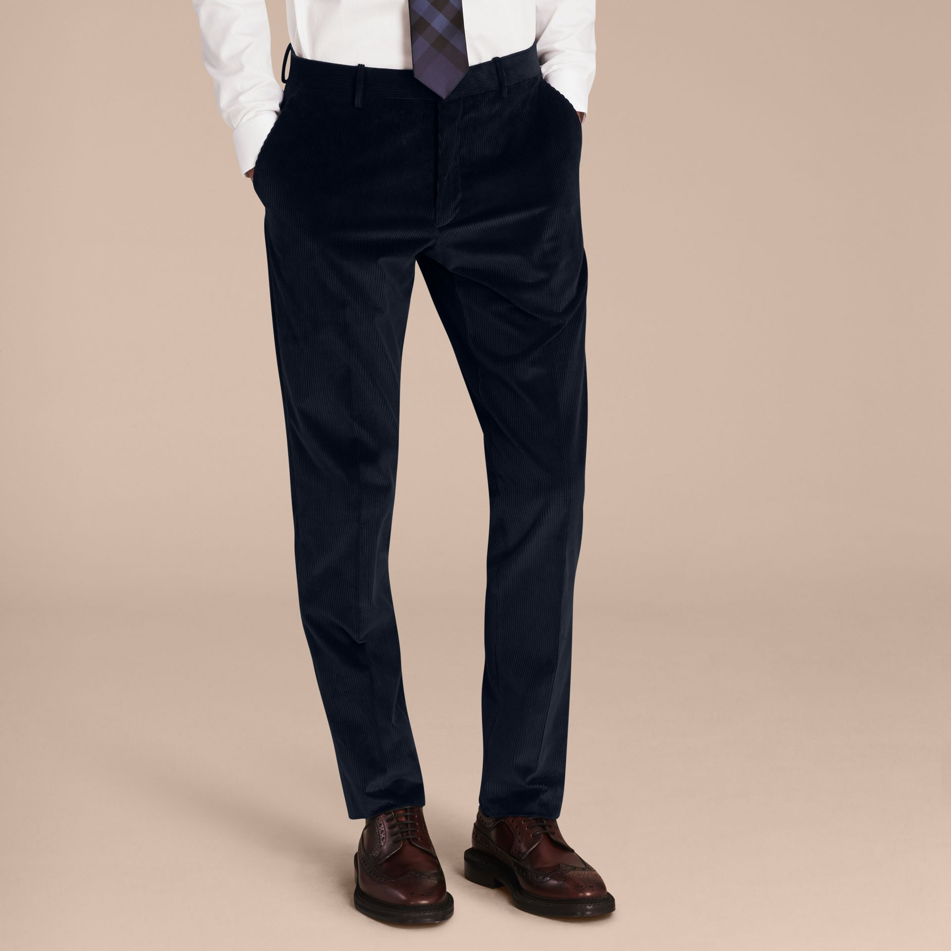 Navy Slim Fit Cotton Corduroy Trousers Navy - gallery image 6
