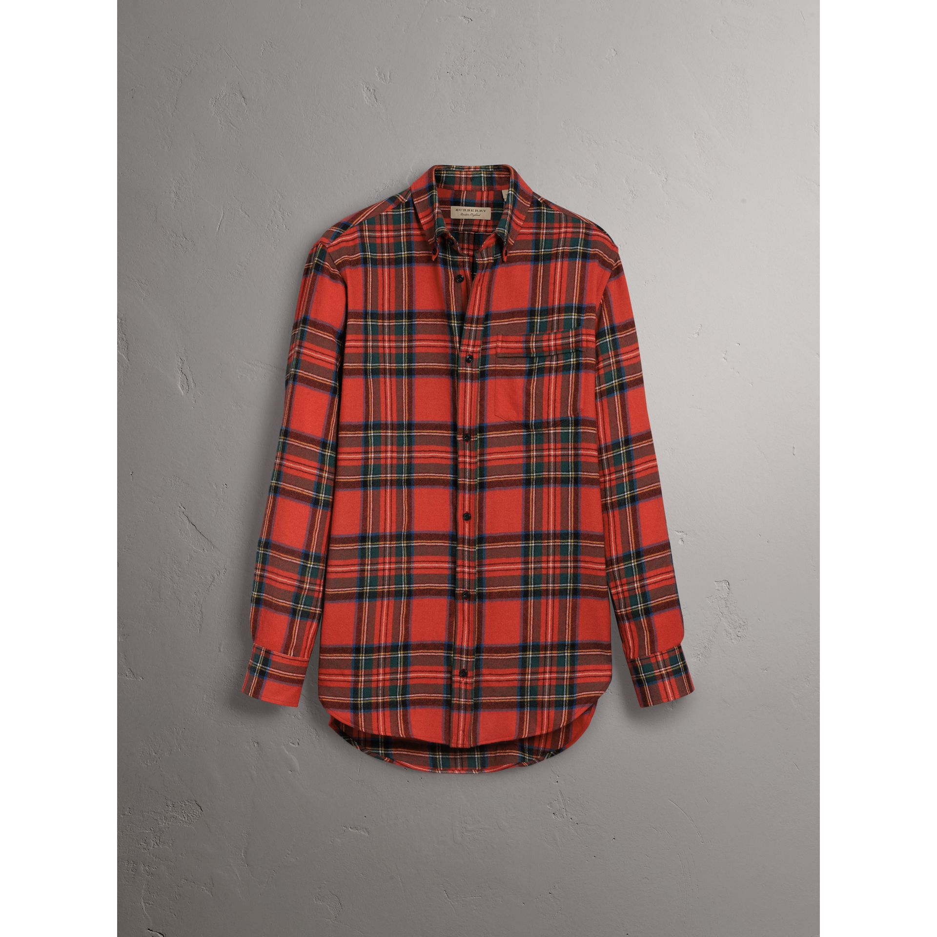 Tartan Wool Shirt in Bright Red - Women | Burberry - gallery image 4