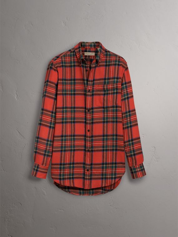 Tartan Wool Shirt in Bright Red - Women | Burberry - cell image 3