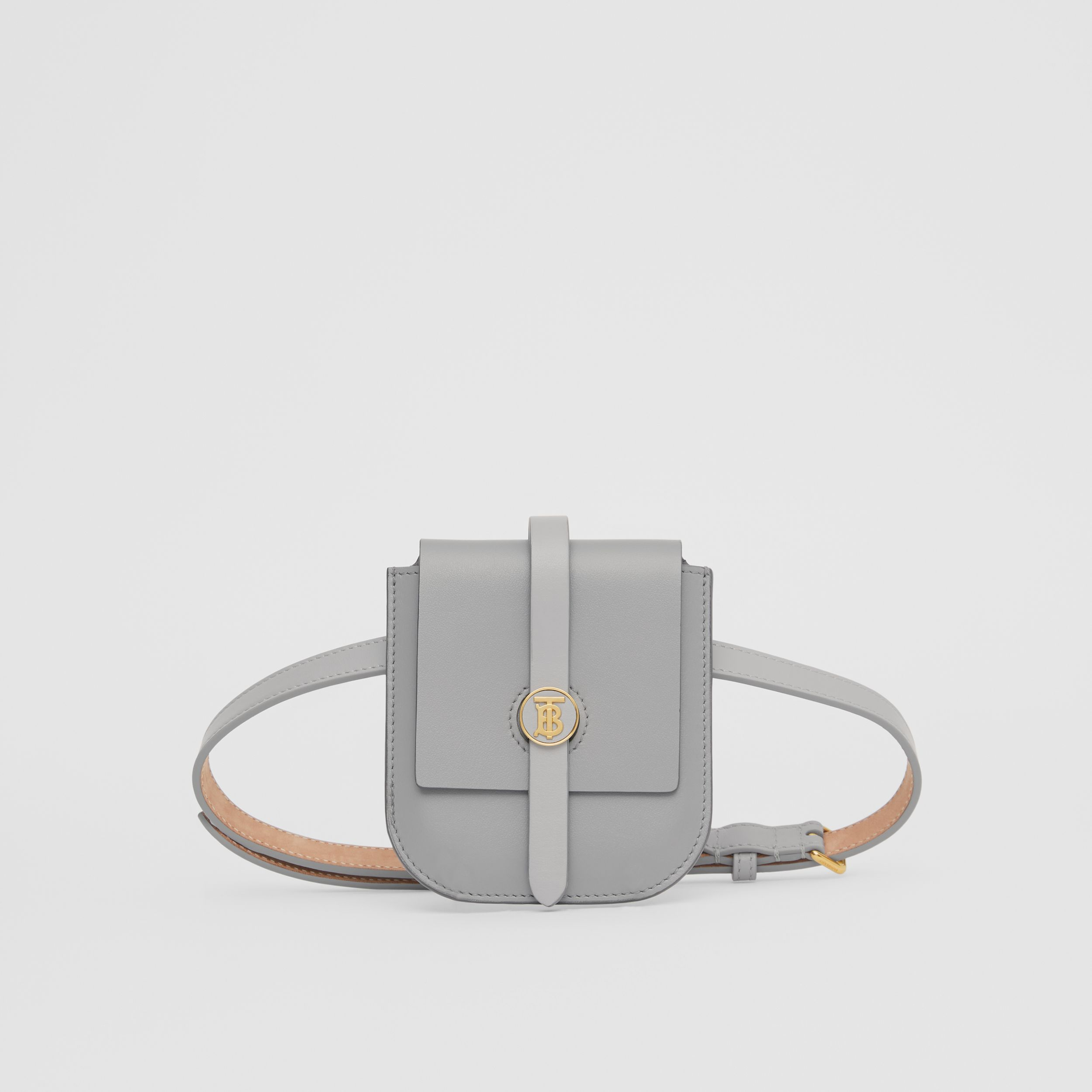 Belted Grainy Leather Anne Clutch in Cloud Grey - Women | Burberry - 1