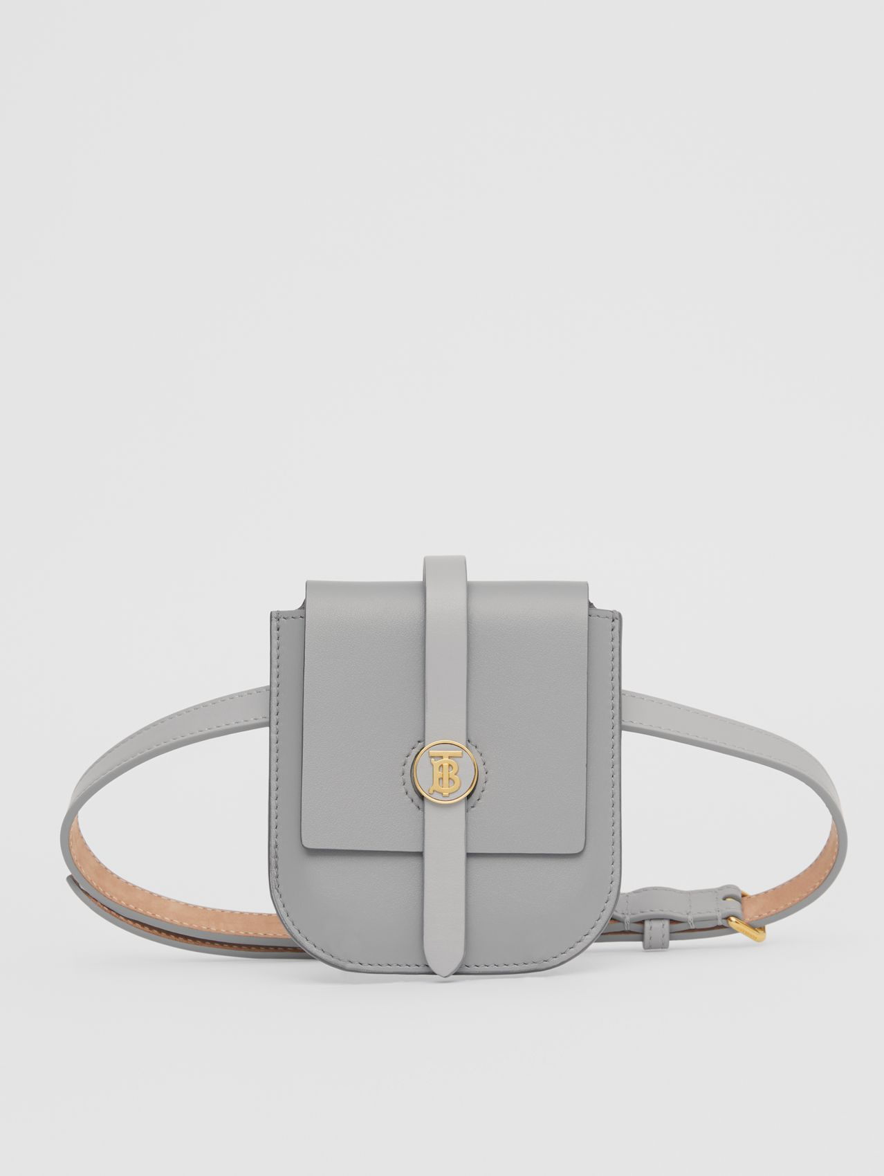 Belted Grainy Leather Anne Clutch in Cloud Grey